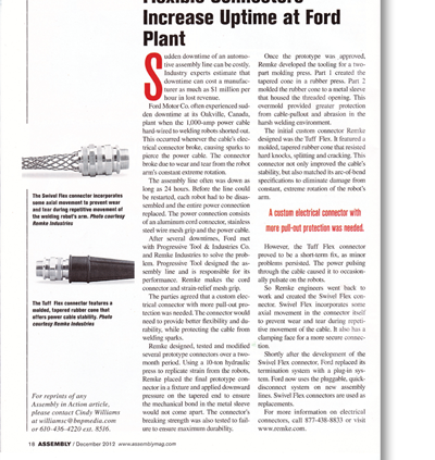 Flexible Electrical Connectors Increase Uptime at Ford Plant - Remke Blog