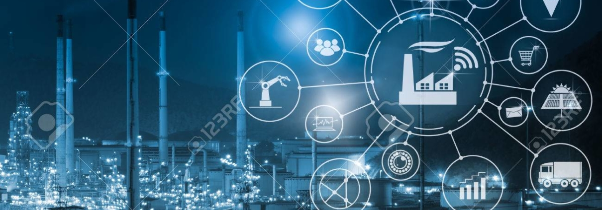 79985764 industry 4 0 concept smart factory with icon flow automation and data exchange in manufacturing tech