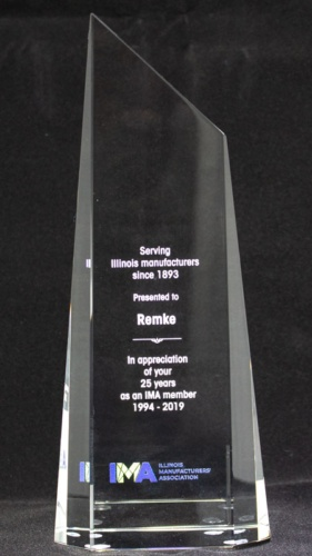 Remke Industries accepts the Illinois Manufacturers' Assn. 25 Year Legacy Award