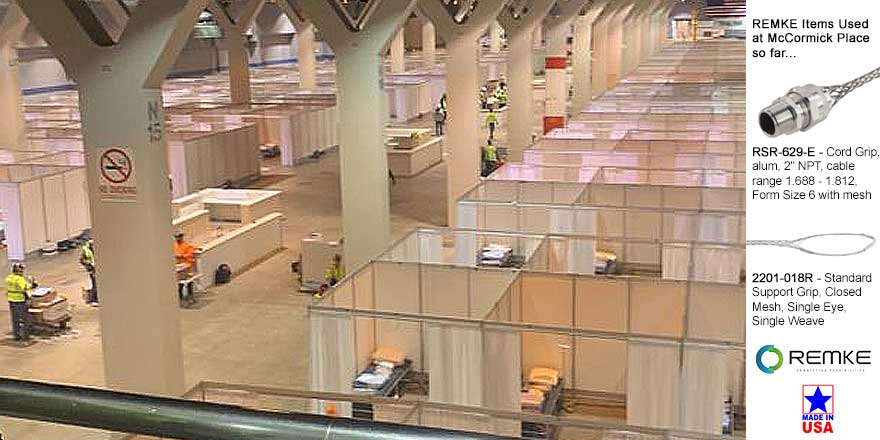 Remke helps electrical contractor source cord grips for McCormick Place field hospital.